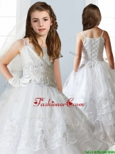Luxurious White Spaghetti Straps Mini Quinceanera Dresses with Appliques and Ruffled Layers THLG003FOR