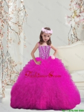 Modern Ball Gown Fuchsia Mini Quinceanera Dresses with Beading and Ruffles LGDTA5002-2FOR