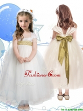 New Arrivals Square Cap Sleeves Little Girl Pageant Dress with Sashes THLG044FOR
