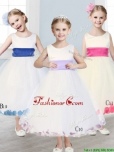 New Scoop Tulle Flower Girl Dress with Sashes and Appliques THLG092-1FOR