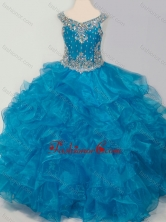 New Style Baby Blue Mini Quinceanera Dress with Beading and Ruffles SWLG007FOR