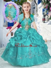 New Style Halter Top Bubles Mini Quinceanera Dresses in Turquoise PAG273FOR