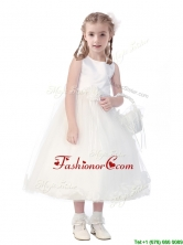 New Style Scoop Hand Made Flowers and Appliques Flower Girl Dress in White THLG094-1FOR
