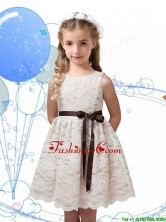 Perfect Scoop Champagne Little Girl Pageant Dress with Sashes and Lace THLG096-2FOR