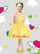 Perfect Spaghetti Straps Belt and Sequins Little Girl Pageant Dress in Yellow THLG068FOR