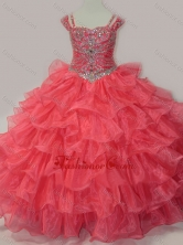 Perfect Sweetheart Beaded Little Girl Pageant Dress with Spaghetti Straps in Coral Red SWLG016-2FOR