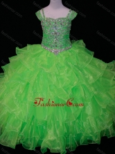 Perfect Sweetheart Ruffled Layer Little Girl Pageant Dress with Spaghetti Straps in Spring Green SWLG016-1FOR
