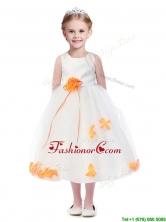Popular Scoop Flower Girl Dress with Orange Red Hand Made Flowers THLG094-4FOR