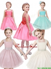 Popular Straps Tulle Mini Quinceanera Dresses with Bowknot and Beading THLG033-2FOR
