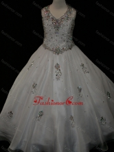Pretty Ball Gown Beaded and Applique White Mini Quinceanera Dress in Organza SWLG010-1FOR
