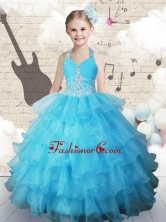 Pretty Halter Top Little Girl Pageant Dresses with Beading and Ruffled Layers CXMFG18MTFOR