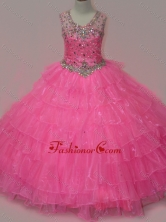 Pretty Rose Pink Little Girl Pageant Dress with Beading and Ruffled Layers SWLG003FOR