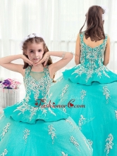 Pretty Straps Turquoise Little Girl Pageant Dresses with Appliques  PAG221FOR