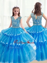 Pretty V Neck Baby Blue Little Girl Pageant Dresses with Ruffled Layers PAG222FOR