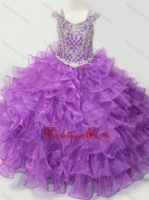Puffy Skirt V-neck Lace Up Little Girl Pageant Dress with Straps and Ruffled Layers SWLG015FOR