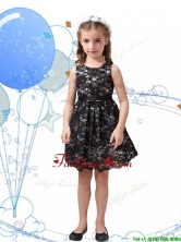 Romantic Scoop Black Little Girl Pageant Dress with Sashes and Lace THLG096-4FOR