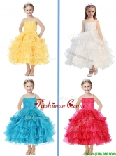 Romantic Spaghetti Straps Little Girl Pageant Dress with Beading and Ruffled Layers THLG074FOR