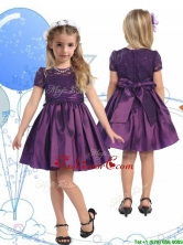 See Through Scoop Purple Little Girl Pageant Dress with Lace and Belt THLG088-3FOR