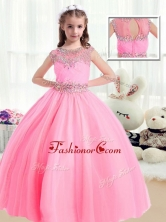 Sweet Ball Gown Cap Sleeves Little Girl Pageant Dresses with Beading PAG215FOR