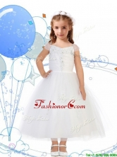 Top Selling Square Cap Sleeves Appliques Flower Girl Dress in White THLG060FOR