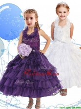 Unique Halter Top Little Girl Pageant Dress with Ruffled Layers THLG062FOR