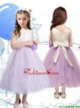 Wonderful Scoop Little Girl Pageant Dress with Hand Made Flowers and Bowknot THLG042FOR