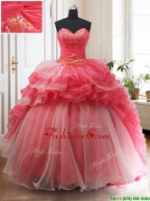 2017 Brush Train Red and White Quinceanera Dress with Beading and Ruffled Layers PSSW0130FOR