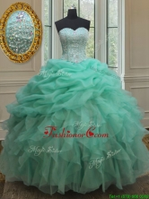2017 Cheap Beaded and Bubble Turquoise Organza Quinceanera Dress with Ruffles PSSW0141FOR