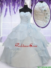 2017 Pretty Light Blue Organza Quinceanera Dress with Appliques and Ruffled Layers PSSW095FOR