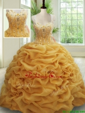 2017 Visible Boning See Through Back Brush Train Beaded Quinceanera Dress in Gold PSSW017FOR