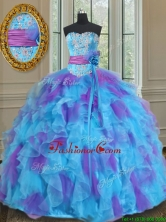 Best Sweetheart Organza Blue and Purple Quinceanera Gown with Handmade Flower PSSW0126FOR