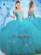 Cheap Beaded Off the Shoulder Teal Quinceanera Dress in Tulle CDLAPJ002FOR