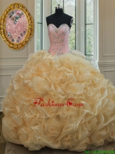 Luxurious Beaded Brush Train Champagne Quinceanera Dress in Rolling Flowers PSSW066FOR