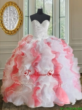 Popular Brush Train White and Coral Red Quinceanera Dress with Beading and Ruffles PSSW070FOR