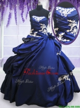 Sweet Strapless Applique and Pick Ups Royal Blue Quinceanera Dress in Taffeta PSSW029FOR