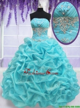 Top Seller Strapless Aquamarine Quinceanera Dress with Beading and Pick Ups PSSW084FOR