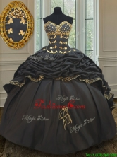 Wonderful Bubble Embroideried and Beaded Black Quinceanera Dress in Taffeta PSSW031FOR
