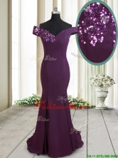 2017 Classical Mermaid Off the Shoulder Brush Train Sequined Prom Dress in Dark Purple PSSWPD052FOR