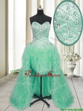 2017 Elegant High Low Brush Train Beaded and Ruffled Prom Dress in Apple Green PSSWPD001FOR