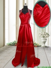 2017 High Slit Beaded Decorated Halter Top Criss Cross Prom Dress in Elastic Woven Satin PSSWPD045FOR