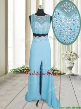2017 Two Piece See Through Brush Train Aquamarine Prom Dress with Beading and High Slit PSSWPD050FOR