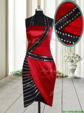 Column Halter Top Wine Red and Black Short Prom Dress in Elastic Woven Satin PSSWPD009FOR