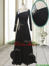 Fashionable Asymmetrical Neck Brush Train Black Dama Dress with Long Sleeves PSSWPD032FOR