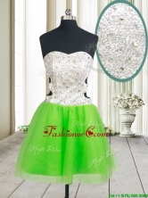 Lovely Cut Out Waist Beaded and Sequined Zipper Up Dama Dress in Spring Green PSSWPD006-1FOR