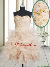 New Arrivals Sweetheart Champagne Short Dama Dress with Beading and Ruffles PSSWPD061FOR