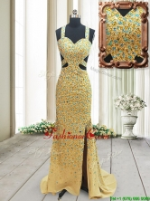 Popular Straps Cut Out Waist Backless Dama Dress with Beading and High Slit PSSWPD079FOR