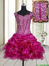 Pretty Visible Boning Straps Beaded Bodice and Ruffled Dama Dress in Fuchsia PSSWPD076FOR